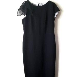 Anne Klein dress silk flower black sz 12